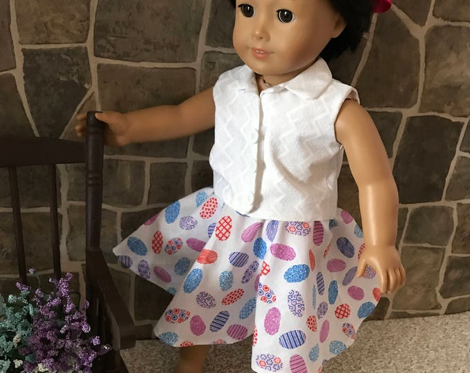 "End of Summer Sale!!! White Blouse and Full Skirt made to fit 18"" dolls FREE SHIPPING"