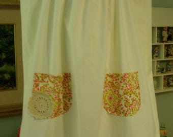 Girl's dress w/ Hand Embroidered Vintage Pillowcase Skirt, Girl's size 5