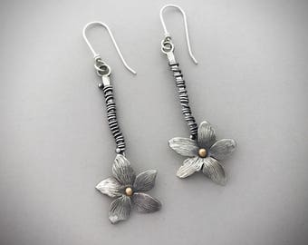 Sterling Flower Earrings, Botanical Jewelry, Nature Jewelry For Women, Handmade By Metalsmith, Anniversary Gifts For Girlfriend.