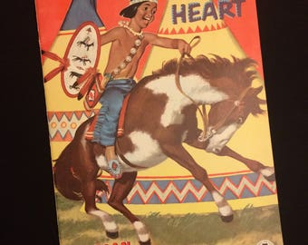 Amazing UNUSED Vintage 1953 Merrill Native American Indian Theme Coloring Book, Strong Heart, Color Book, Childrens Art Book 1950s Antique