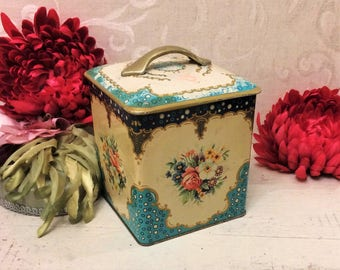 Shabby Vintage Floral Biscuit Tin, Boho Cottage Chic French Country Home Décor Antique Tin Box Le Paon Mid Century 1950s