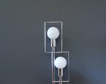 Mid Century Globe Lamp ~ Geometric Chrome Table Lamp ~ Rectangle Cube Lamp ~ Vintage Lighting