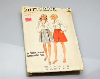Vintage Butterick Pattern 5349 Pantskirt Sewing Pattern Pant Skirt Disquised by Front and Back Panels Misses Pantskirt Pattern 1970s