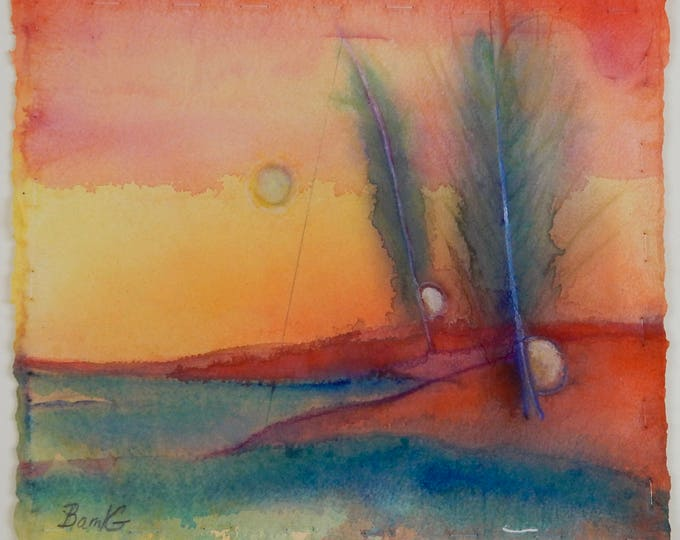 Sunrise Sunset watercolor painting