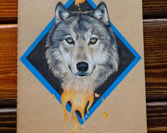 """5""""x8.25"""" Lined Notebook with Wolf Illustration on Cover"""
