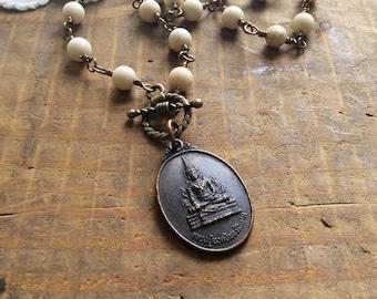 Antique Buddha Necklace - buddha amulet protection amulet natural stone necklace