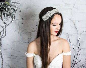 Bridal Crystal Headband, Statement headband, wedding headpiece, bridal headpiece, bridal hair jewelry, bridal halo, crystal halo