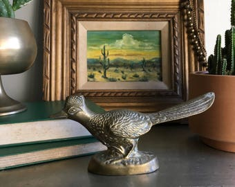 vintage brass roadrunner figurine southwest desert boho decor