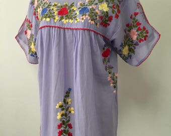Embroidered Mexican Blouse Cotton Top In Blue Boho Blouse Hippie Top Bohemian Style