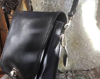 Vintage Black Leather Coach Handbag Crossbody with Silver Hardware