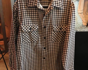 Vintage SEARS Brown Hounds Tooth Check Flannel Shirt