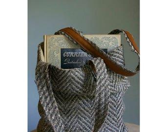 Vintage Wool Tweed + Leather Bag