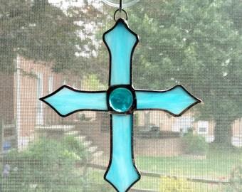 Stained Glass Cross Suncatcher - Blue Cross - Cross Ornament  - Religious Decor - Christian Gift - Christening Gift - Confirmation - Baptism