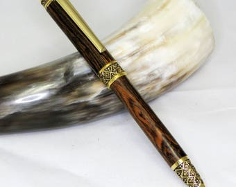 Hand-turned Sculpted Style Twist Pen - Bocote Wood with Gold Accents
