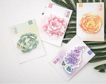 Watercolor Flowers Sticky Notes (4 Set)