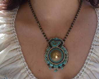 Turquoise Bird Amulet Embroidered Necklace