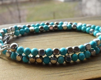 14 inch double wrap bracelet in turquoise and square beads with lobster clasp