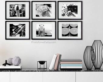 Chanel girl room decor/Black and white photography/Chanel bathroom set of 9 makeup print/bathroom art/nursery decor/girl teen decor/makeup