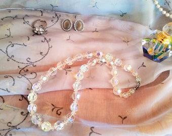 Vintage 1950's clear Aurora Borealis crystal necklace - clear vintage crystal necklace - clear crystal jewelry - mid-century round crystals