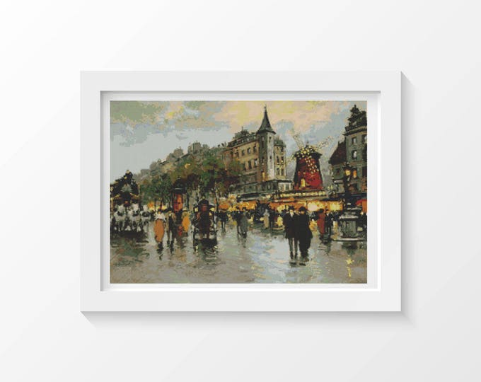 Cross Stitch Kit, Embroidery Kit, Art Cross Stitch, Le Moulin Rouge by Antoine Blanchard (BLANC04)