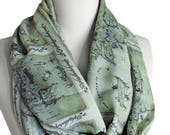 Lord of the Rings Map Scarf Infinity Scarf Gray and Green Book Scarf Geek Gift For Her Wife Fall Winter Fashion Accessories  Elvish Script