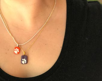 tiger paw necklace, orange necklace, game day necklace, orange graduation gift, purple necklace, tiger paw print,tiger paw orange and purple