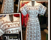 Vintage Brown White Egyptian Print Cotton Dress FREE SHIPPING Reserved