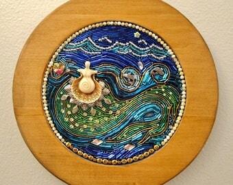 "Beaded Mosaic Art on Wood - ""I Must Be a Mermaid"" - Circular Wall Hanging"