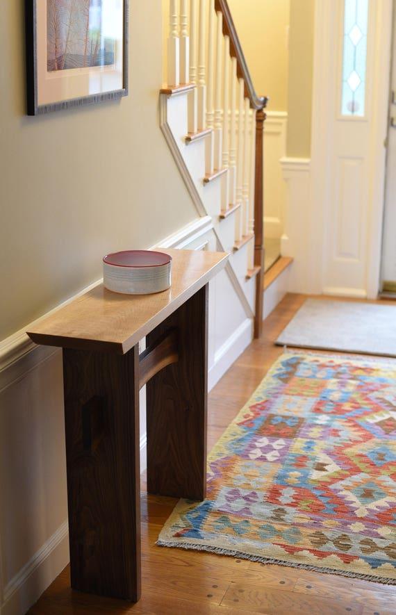 Minimalist console table live edge stretcher modern entry - Konsolentische modern ...