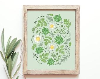 Kitchen Herb Print Download // Printable Kitchen Art, Herb Art Print // Botanical Art Download, Kitchen Decor Wall Art Printable