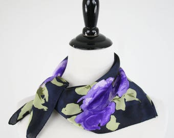 Vintage Purple Roses Silk Square Scarf