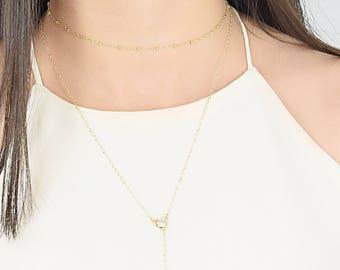 Satellite Choker Necklace, Gold Collar Layering Necklace, Simple Gold Choker, Dainty Necklace, Layering Necklace, Gold Fill /Sterling Silver