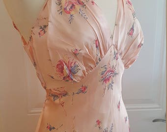 Vintage 1940s Pink Satin Nightgown // Rose Floral Print // Satin Slip Dress // Old Hollywood Glamour