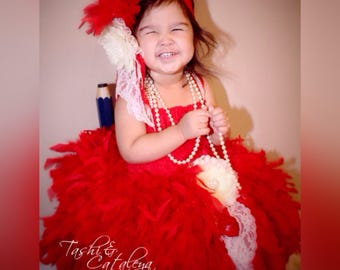Red lace feather dress flower headband brooch pageant holiday vintage photo prop birthday baby girl toddler christmas tutu costume wedding