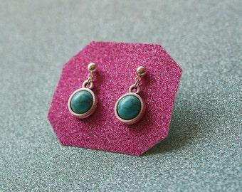 Round Turquoise Gem Earrings, Gem Howlite Earrings, Howlite Earrings, Gemstone Earrings, For Her