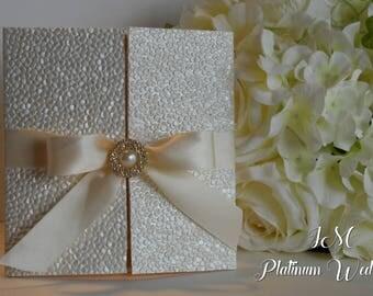 Luxury Ivory & Gold Wedding Invitation