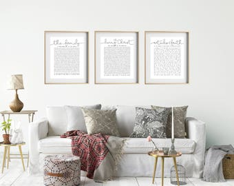 Set of 3- The Family Proclamation, The Living Christ & Articles of Faith Foil Prints, LDS Quote, Wall Decor, Wall Art, 11x14 , Physical Copy