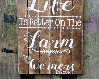 Custom Rustic Farmhouse Pallet Sign - Life Is Better On The Farm - Custom Pallet Sign, Weddings, Anniversarys, & more