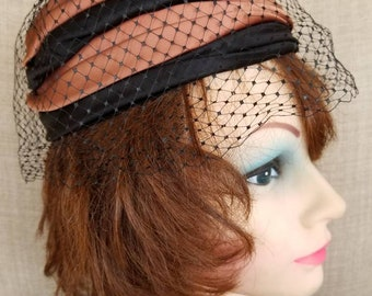 Vintage Women's Black and Brown Satin Ribbon Veiled Hat