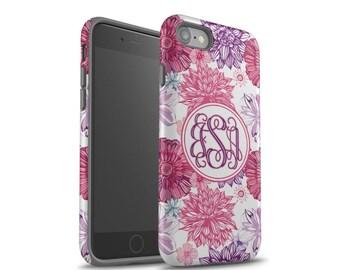 iPhone 7 Plus Case, iPhone 8 Case, iPhone 7 Case, iPhone 8 Plus, Samsung Galaxy S8 Plus Case, Galaxy S7 Case, Pink Purple Floral Monogram