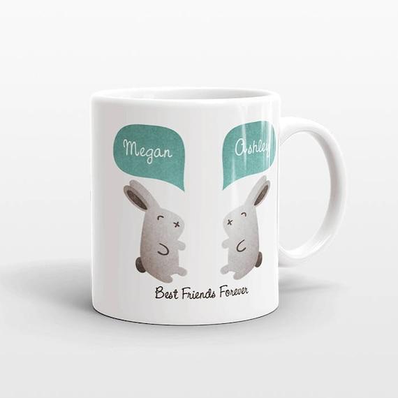 Best Friend Gift, Rabbit Bunny Mug, Personalized Best Friend Mug, Animal Best Friend Coffee Mug, Unique Friendship Gift Friend Birthday Gift