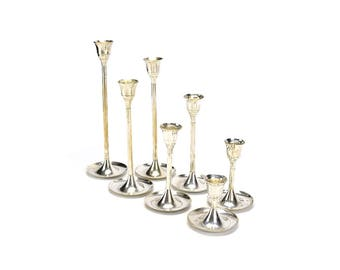 LOT 7 Vintage Silver Plated Candlestick Candleholders - Tall Stem Candle Holders Wedding Decor - Mid Century Hollywood Regency - Graduated