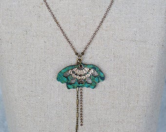 "Collier court, collection ""Papillonnage"" - tissu turquoise/émeraude"