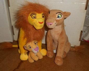 "The LION KING Plush Gift Set Adult 8"" Simba & Nala w/ Baby Kiara Cub"