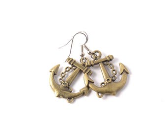Antique Brass Anchor Charm Earrings on Your Choice of Hypoallergenic Surgical Stainless Steel or 925 Sterling Silver Ear Wires