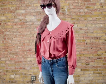 wide collar pink blouse / cape collar blouse / eyelet blouse / boho / 80s blosue / peasant blouse / cape blouse / poet sleeve / romantic top