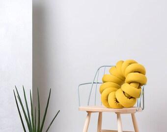 Mustard round Knot pillow , Knot Pillows, knot cushions,  Mustard modern pillow, nursery decor, mustard cushion, mustard throw pillow