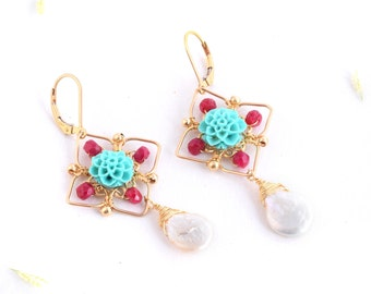Turquoise Ruby Pearls Earrings,Geometry Earrings ,Ruby  Earrings,Chandelier Earrings,Turquoise Earrings,Geometry Jewelry, 14K Gold Filled