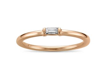 14k Rose Gold Baguette Solitaire Diamond Promise Ring (1/10 cttw, I-J, SI2-I1)
