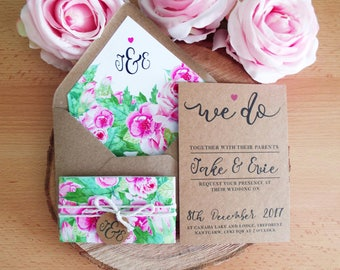 Watercolour Wedding Invitation Set SAMPLE. Includes Kraft Card Invitation with Floral Band and Lined Envelope.